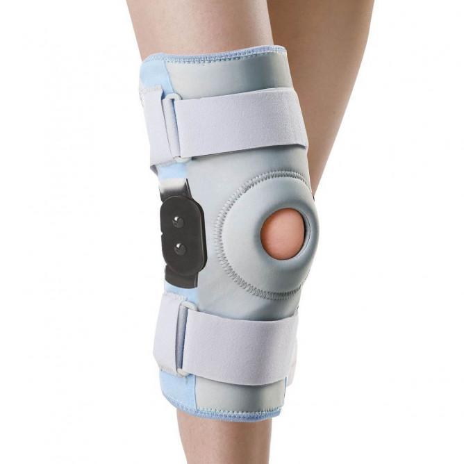 Шарнірний бандаж на колінний суглоб з фіксуючим кільцем